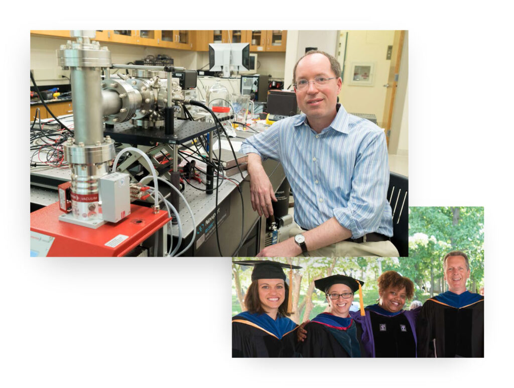 Photos of professor in lab and graduates