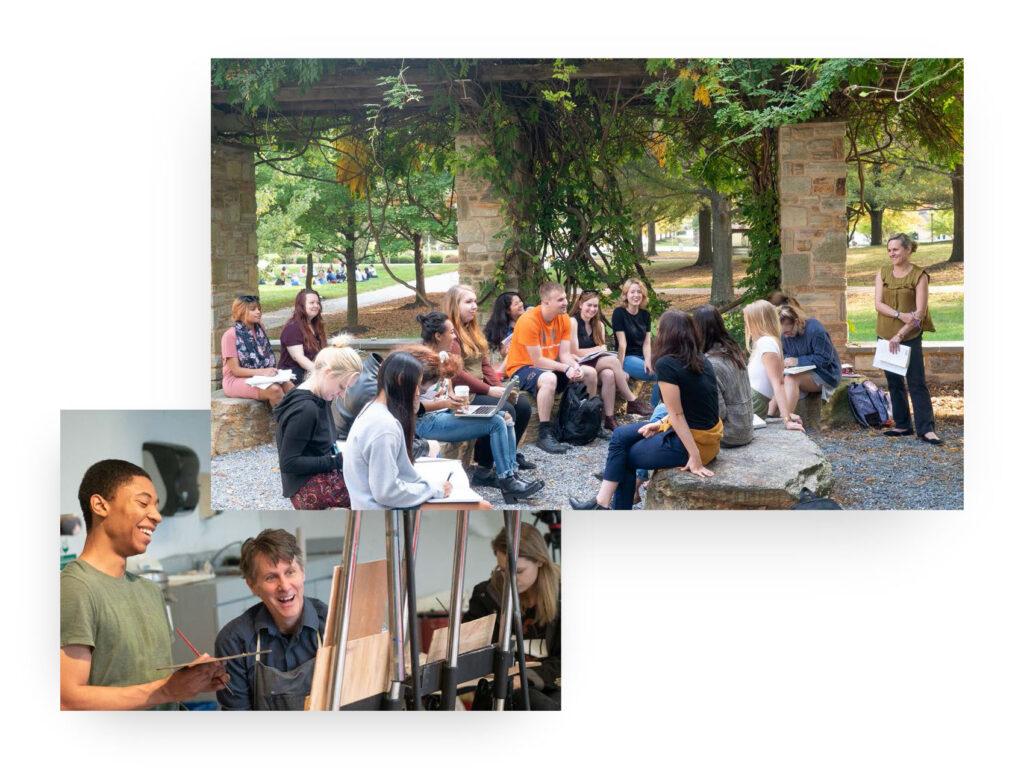 Photos of outdoor classroom and art studio